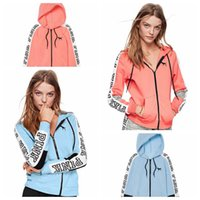 Women Pink Letter Printed Zipper Hoodie Long Sleeve Patchwor...