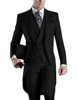 남자 정장 웨딩 정장 2018 아침 롱 자켓 Tailcoat 3 조각 남자 슬림 맞는 양복 블랙 신랑 턱시도 정장 신랑