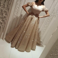 Champagne Luxury Evening Dresses Off Shoulder Short Juliet Sleeves Sequined A-Line Prom Gowns Back Zipper Ruffle Custom Made Formal Gowns