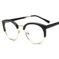 Moda feminina óculos moldura homens do metal do vintage rodada metade projeto quadro Marca óculos Miopia Óculos óculos claro óptica Lentes