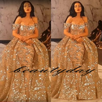 Bling Bling Mermaid Robes de bal Yousef Aljasmi 2019 Modest Off Shouder avec Overskirt Scintillant Dubai Arab Occasion Soirée Porter des robes