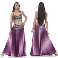 Performance Donna Dancewear Professionale 2pcs-3pcs vestito reggiseno gonna gonna lungo orientale in rilievo danza del ventre costume