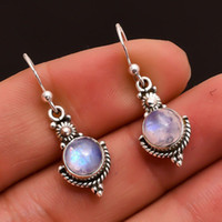 Ethnic Bohemia Dangle Drop Moonstone Earrings For Women Tibe...