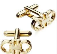 1 paire de vente au détail chemise française boutons de manchette boutons de manchette de luxe polis or-couleur bouton pour les affaires de mariage