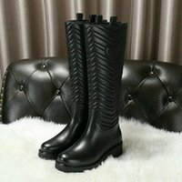 Brand Women Knee High Boots Casual Square Medium Heels Motor...