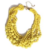 Livraison Gratuite Nouvelle Déclaration Acrylique Perles Tressé Choker Jaune Foncé Collier Rouge, Doux Bijoux Pour Les Femmes