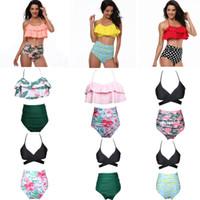 Las mujeres BIKINI 9 estilo Ruffles diseño y flor lunares imprimir playa de verano traje de baño bikini dama de dos piezas establece traje de baño envío gratis