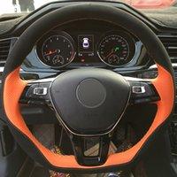 폭스 바겐 폭스 바겐 골프 7 MK7 뉴 폴로 제타 파사트 B8 Tiguan의 샤란을위한 핸드 스티치 블랙 오렌지 가죽 자동차 스티어링 휠 커버