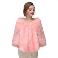 CMS06 Women Women Luxury Bridal Faux Scialle in Pelliccia Scialle in mantello Cappotto Maglione Capo Pink Involucri Giacca da sposa Bolero