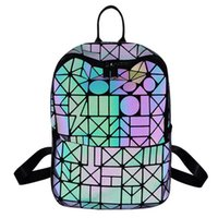 Luminous Backpacks Girl Daily Backpack Geometry Sequins Fold...