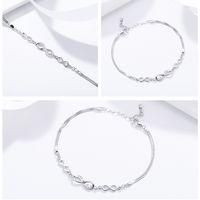 Оптовая продажа 925 стерлингового серебра бесконечная любовь бесконечность цепь звена регулируемые женские браслеты роскошные серебряные украшения SCB037