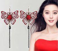 neue heiße koreanische Art lange Artohrringe mit Franse, raffinierte hohle Perle, Weinrot, Schmetterlingsohrringe, modern und klassisch, raffiniert a