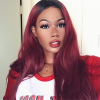 Ombre Human Hair Lace Front Wigs T1b 99j Two Tone Full Lace ...
