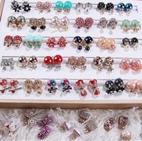 Moda gioielli mix 20 stile 20 paia / lotto delicato perla di cristallo orecchini a doppia faccia opale orecchini gemma vite ragazza adatta signora