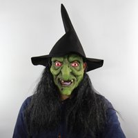 Halloween Horror Witch Green Head Gray Hair Mask Haunted Hou...