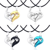 4Colors I Love You Heart Necklaces Pendants with Leather Lin...