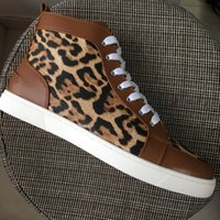 New 2018 Men Women Leopard With Brown Patchwork Leather High...