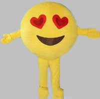2018 High quality happy red heart eyes face emoji mascot cos...