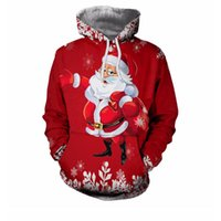 2018 New 3D Christmas Sweatshirt Santa Claus Hooded Colorful...
