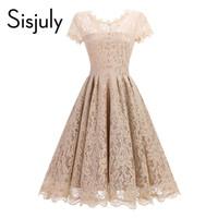 Sisjuly Vintage 1950-е годы Платье весенние кружева A-Line Женщины Летнее Платье для вечеринки О-Шеи Balck Blue A-Line Элегантные Винтажные Женские Платья
