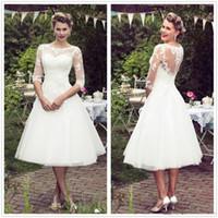 Vintage 50's Estilo Curto Lace Vestidos de Casamento Mangas Meia Tule de Renda Applique Chá Comprimento Vestidos De Noiva De Casamento Com Botões de Casamento Do País