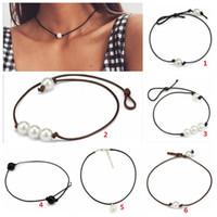 Frauen Mode Halsreifen Perlenkette Schmuck Handgemachte Leder Seil Perle Anhänger Halskette Nachahmung Natürliche Süßwasserperlen Halskette