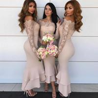 2019 manga comprida Lace Champagne fora do ombro vestidos de dama de honra vestido de baile
