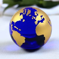 60mm Blue Colored Earth Crystal Model Ball Glass Globe With ...