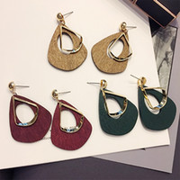 South Korean style exaggerated big name wooden earrings simp...