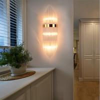 Postmodern Kristal Duvar Lambası Otel Yatak Odası Başucu Cam Lamba Avrupa Oturma Odası Altın Bronz Duvar Işık Koridor Merdiven Banyo Aynası Işıkları