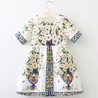 Vestido de meninas 2019 outono marca princesa vestidos estilo europeu e americano crianças vestem flores impressão crianças roupas