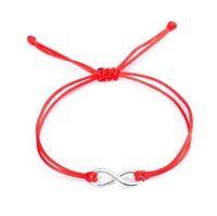 20 шт. / лот китайский узел строка Бесконечности символ счастливый красный шнур регулируемый браслет DIY