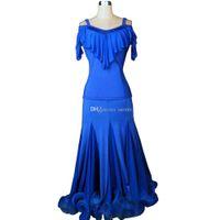 Balo Salonu Vals Elbise Satış Balo Salonu Rekabet Elbise Tango Dans Kıyafet Kostümleri Üst Etek 2 adet Set 6 Renkler D0197 Büyük Ruffled Hem