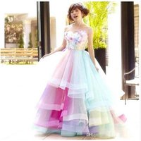 2018 Robe De Soiree Rainbow Colorful Prom Dresses Cheap Swee...