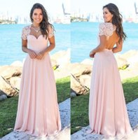 Pink Country Bridesmaid Dresses 2018 Scoop Hollow Back Lace ...