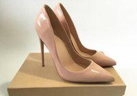 Бренд-дизайнер 2018 сексуальная женская обувь градиент лакированная кожа заостренные вечерние насосы на высоком каблуке платье Женская обувь для вечеринок черный и обнаженный