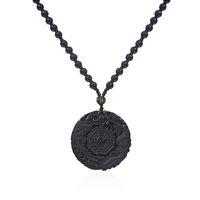 Ручной работы черный обсидиан Инь Ян Багуа Тай Чи дракон феникс кулон Амулет ожерелье женщин мужские ювелирные изделия