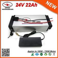 Hinteres Gestell-Lithium-Batterie 24V 22Ah 700W elektrische Fahrrad-Batterie benutzte 3.7V 2.2Ah 18650 Zelle 30A BMS + 2A Aufladeeinheit FREIES VERSCHIFFEN