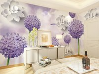 purple color flower photo wallpaper 3d wall mural for living...