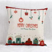 Décoration de Noël Joyeux Noël Lettres Carré Lin Kerst Taie D'oreiller Santa Elk Bell Taie d'oreiller pour la Maison Canapé Noël Décor
