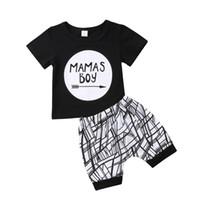 Verão roupas de bebê Mamas menino T-shirt preta calções 2-piece set calças geométricas equipamento do esporte roupas casuais equipar crianças roupas menino 0-24M