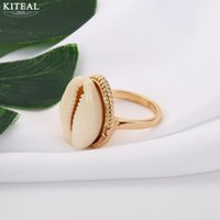 Bohemian vintage Silver Shell Ring resizable Finger Rings fo...