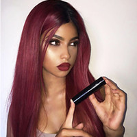 Cheap Middle Parting Sexy 1b bug# Ombre Burgundy Silky Strai...