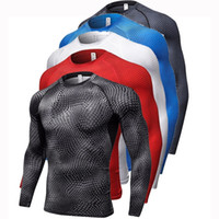 Men Compression Long sleeves T- Shirt Man Tight Jersey Fitnes...