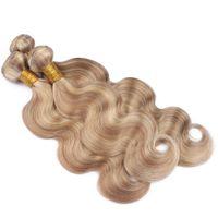 Virgin peruano cor misturada do cabelo humano pacotes tecer onda do corpo ondulado # 27/613 destaque cor da mistura virgem remy extensões de trama do cabelo humano