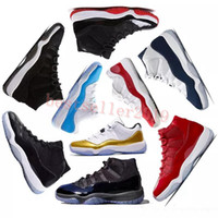 2018 Chaussures de basket-ball Prom Night 11 11s Concord Gym rouge Midnight Navy Race Space Jam Université bleu Concord hommes Sport Baskets TAILLE 5-13
