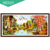 Meian, new 5D cube painted landscape diamond drill room Diam...