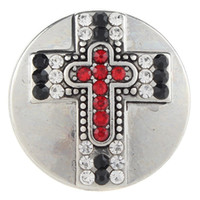 Jayna Lee 20mm Red Crystal Faith Cross Snap Button Pops Fit ...