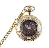 Voltear retro reloj de bolsillo mecánico estudiantes de hombres y mujeres ahuecan hacia fuera reloj de bolsillo conmemorativo vida impermeable