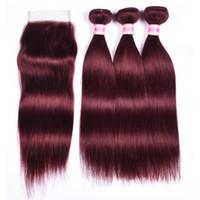 Brasilianisches reines glattes haar mit verschluss 99j rote farbe haar burgund 9a unverarbeitetes menschenhaar mit verschluss bundles und verschluss